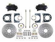"Rear Disc Brake Kit Conversion Kit MaxGrip XDS Rotors Black Powder Coated Calipers 8"" or 9"" Small Bearing Axle 1964 1/2 - 1973"