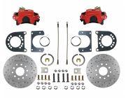 "Rear Disc Brake Kit Conversion Kit MaxGrip XDS Rotors Red Powder Coated Calipers 8"" or 9"" Small Bearing Axle 1964 1/2 - 1973"
